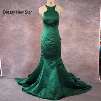 SML490 Real Sample Vestidos De Fiesta Emerald Green Halter Neck Backless 2014 Long Mermaid Prom Dresses