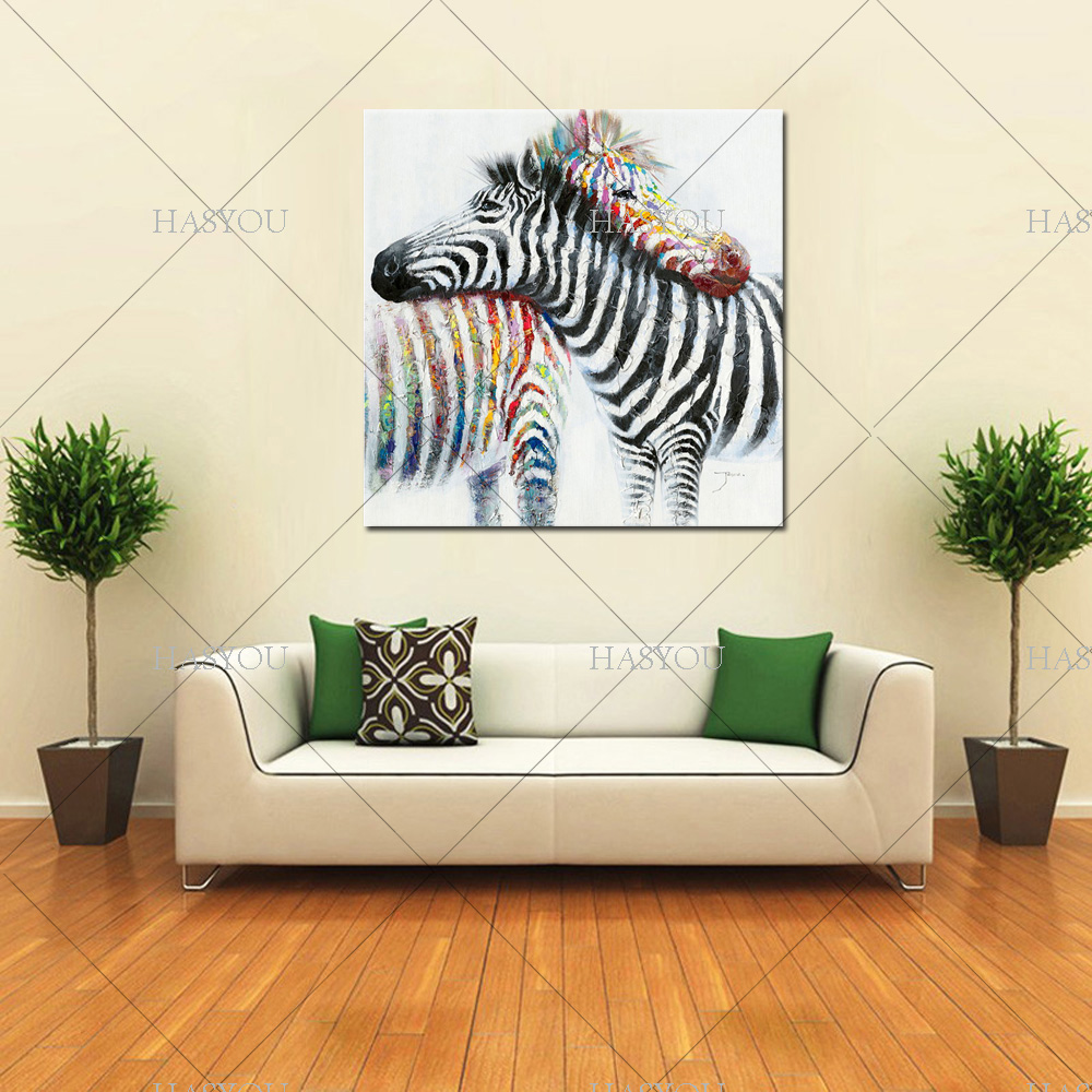 Wildlife wall art hand painted zebra couple canvas oil painting on wildlife wall art hand painted zebra couple canvas oil painting on printing home decor picture for bedroom in painting calligraphy from home garden on amipublicfo Image collections