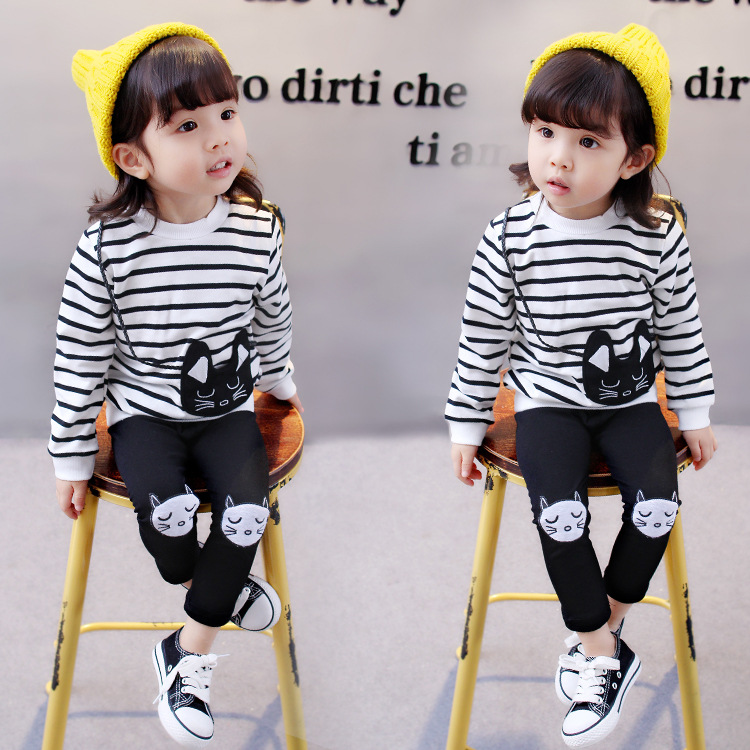 2017 Girl Spring Fall Clothes Set Kids Girls Cute Cat Striped Shirts Dress+Leggings 2pcs Clothing Sets Children Cotton Suits