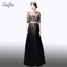 Caijia 2017 New Arrival Black A-Line Women Long Evening Dresses Junoesque Half Sleeve Tulle Beading And Embroidery With Sash