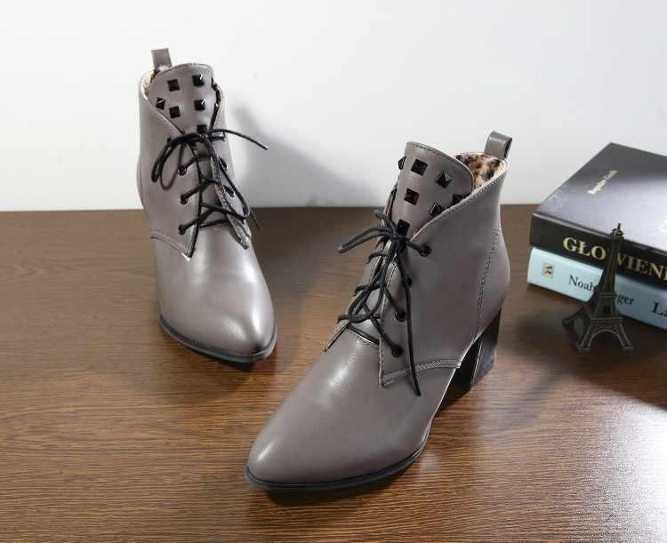 Große Größe 9 10 11 12 stiefel frauen schuhe stiefeletten für frauen damen stiefel schuhe frau winter Klar farbige spitzen vorne schnürung
