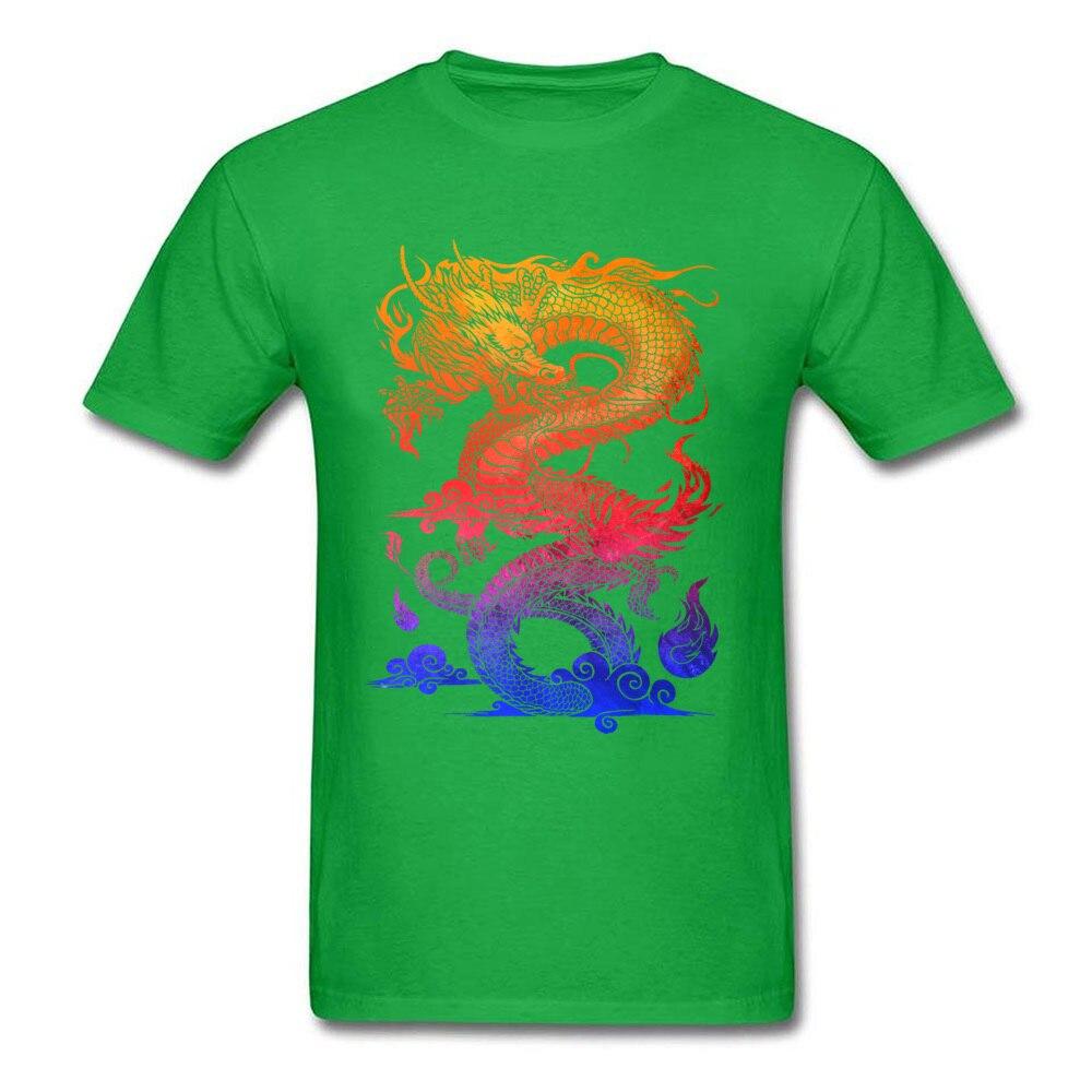 Прочный Шарм Новые мужские футболки Красочные Спортивные футболки китайский дракон и ткань одежда черные рубашки - Цвет: Green