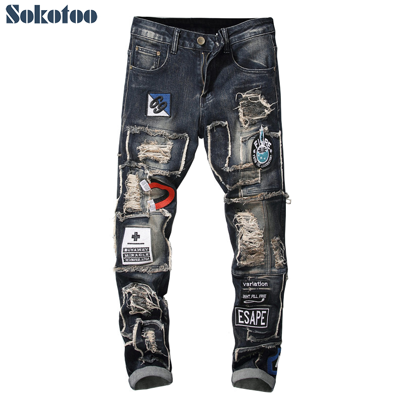 Sokotoo Men's Badge Patchwork Ripped Embroidered Stretch Jeans Trendy Holes Patches Design Slim Straight Denim Pants