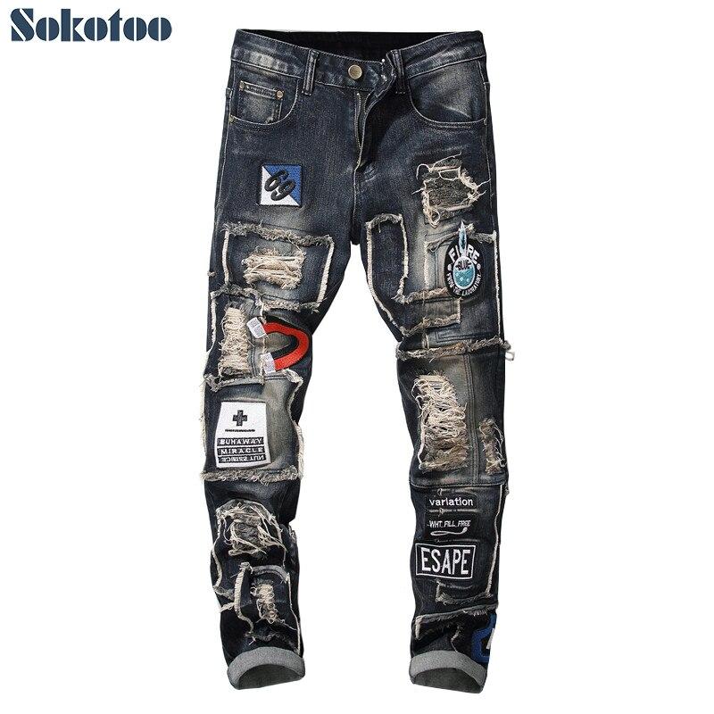 Sokotoo homme patchwork déchiré brodé stretch jeans à la mode trous patchs design slim droit denim pantalon-in Jeans from Vêtements homme on AliExpress - 11.11_Double 11_Singles' Day 1