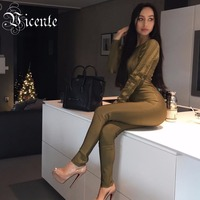 Vicente HOT 2018 New Chic Sexy Striped Mesh Long Sleeves High Quality Rayon Wholesale Bandage Jumpsuit Women Bodysuit