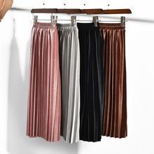 חם חדש אופנה 2019 חמוד קטיפה ילד ילדי חצאית קפלים חצאית חצאית חלקה פעוטות Philabeg ילדי תינוק בנות ארוך חצאיות