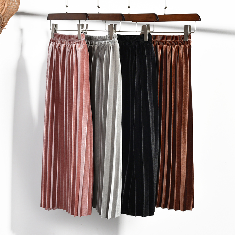 Hot New Fashion 2018 Cute Velvet Child Skirt Kids Pleated Skirt Smooth Skirt Toddlers Philabeg Children Baby Girls Long Skirts dabuwawa two colors winter basic pleated skirt women long skirt solid office elegant black woolen skirt