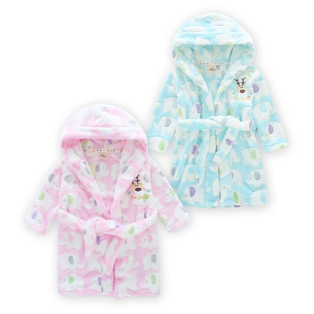 Novo 2-16 T Crianças Veste Meninas Meninos Pijama de Flanela Sleepwear Roupão de banho para Crianças