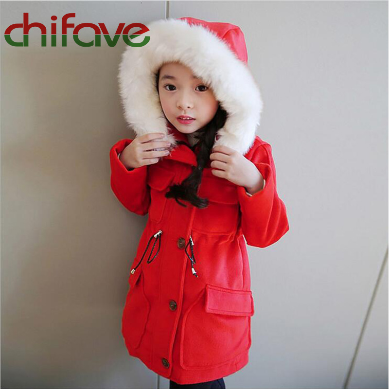 ФОТО chifave New Autumn Winter Children Clothing Cotton Warm Hooded Collar Kids Girls Jacket Single Breasted With Pockets Girls Coat