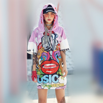 JUST.BE.NEVER anime cartoon joker women hip hip T shirt hooded graphic tees kawaii harajuku hiphop hippie vs pink long tops