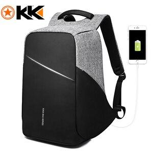 Image 1 - Рюкзак KAKA с защитой от кражи и USB портом для мужчин и женщин, водонепроницаемый деловой модный ранец для ноутбука 15,6 дюйма, школьный портфель