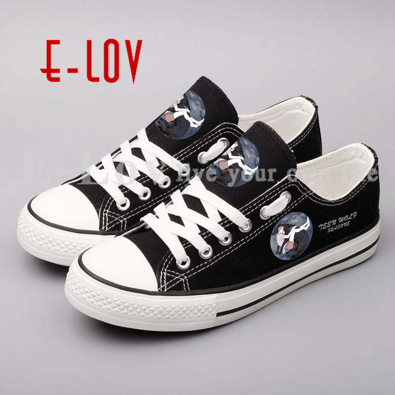 Fashion Printed Teen Wolf Canvas Shoes Summer Women Girls Casual Shoes Hip Hop Streetwear Unisex Flat Shoes Lace-Up