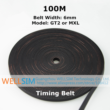100M High Quality GT2 MXL Timing Belt with Steel Wire Width 6mm Synchronous Belt Opening Teeth Belt For 3D Printer Accessories