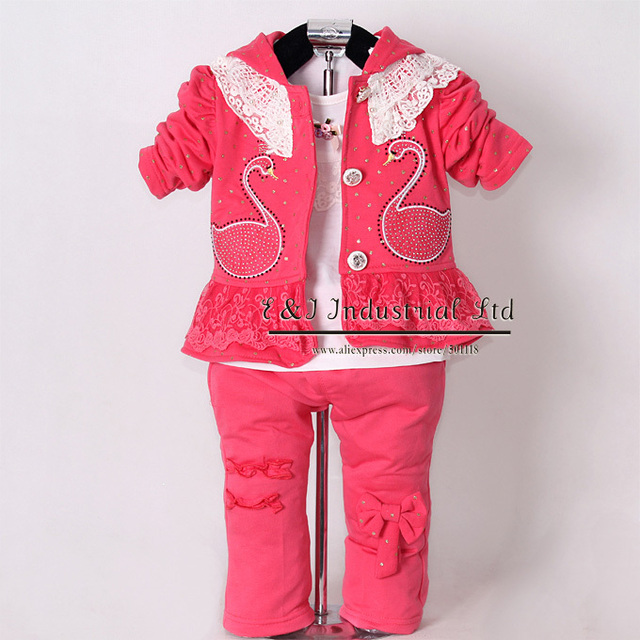 Hot Pink Girls Clothing Suit 3 Pcs Kid Hoodies And Cotton T Shirt Pants Children Spring Clothes Set Free Shipping CS30202-08^^EI