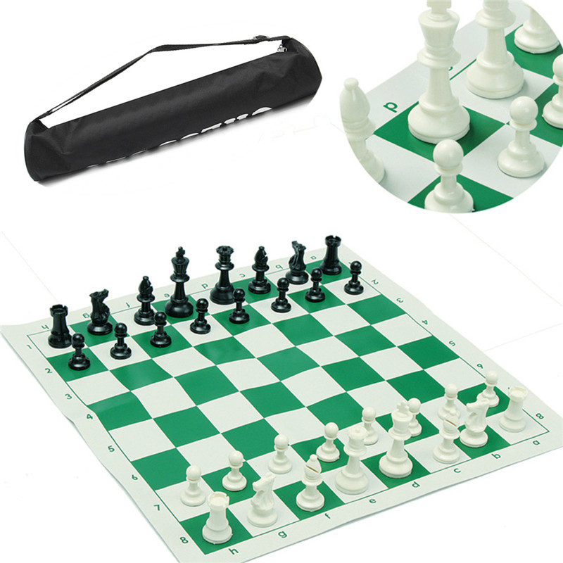 Traveling Portable Chess Titans Traditional Chessboard Set for Tournament Club with Green Roll-up Board + Plastic Bag Chess Game