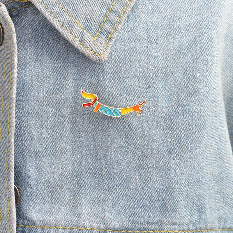 Kartun Dachshund Bros Jarum Gesper Enamel Jarum untuk Denim Tas Jaket Lencana Modis Anak Anjing Anjing Hewan Perhiasan Hadiah untuk anak-anak