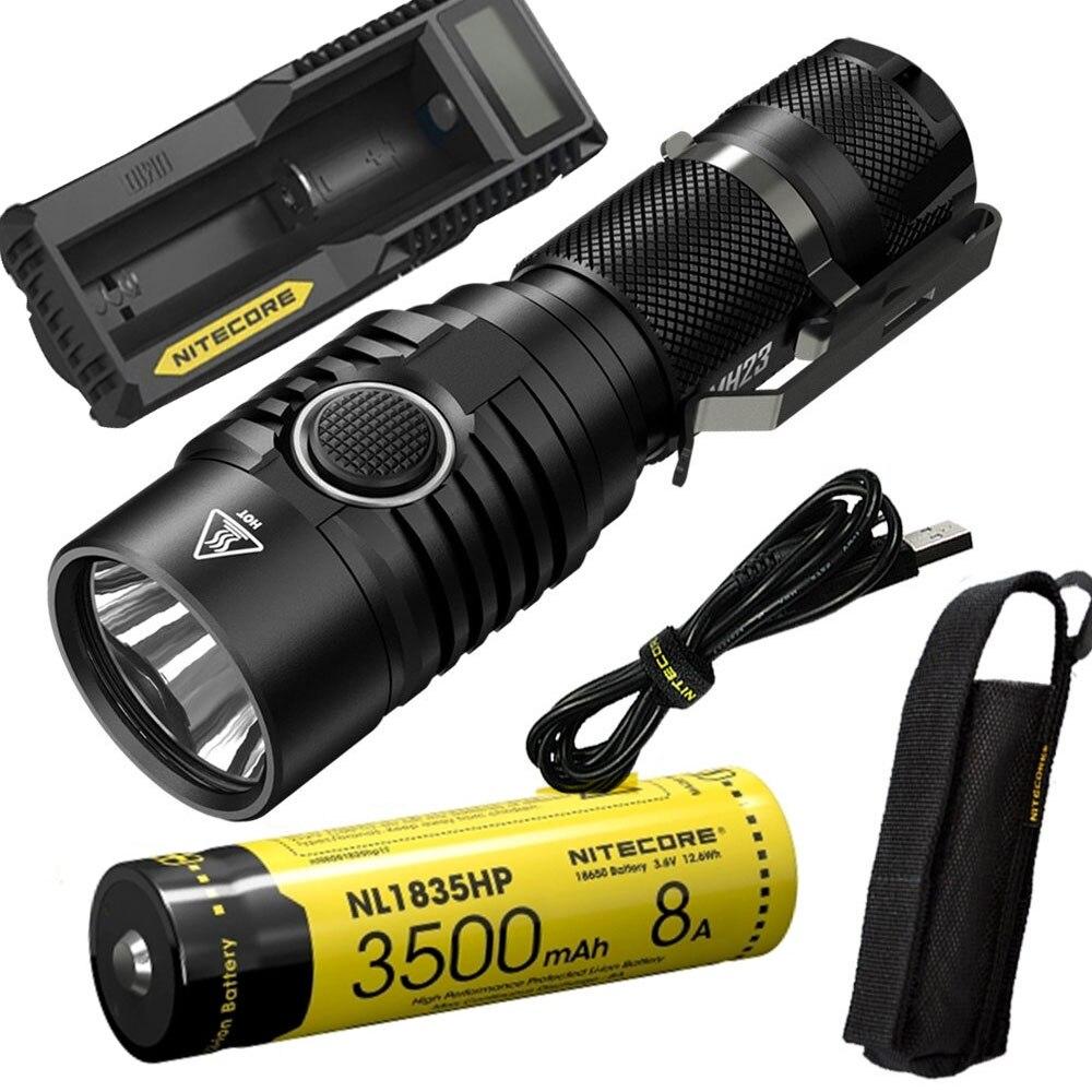 NITECORE MH23 En Plein Air lampe de poche CREE XHP35 HD LED max 1800LM faisceau distance 294 mètre tactique torche + batterie + chargeur