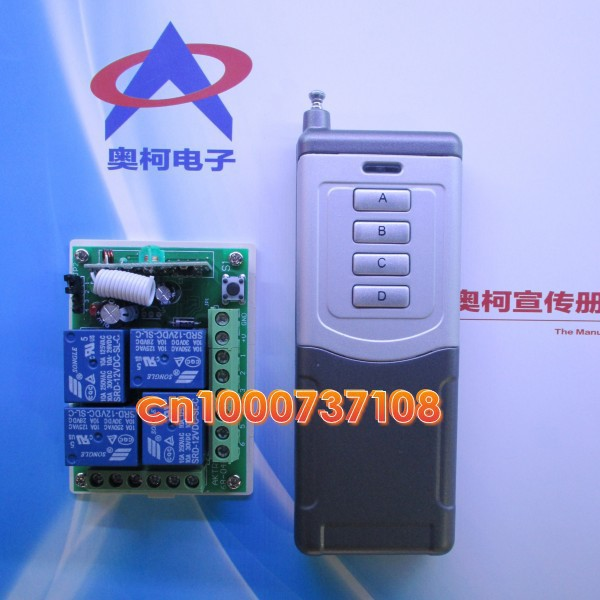 DC12V 10A 4 ch rf z-wave remote control outlet switch wireless remote switches RF switch Toggle Momentary receiver 315 433mhz 12v 2ch remote control light on off switch 3transmitter 1receiver momentary toggle latched with relay indicator