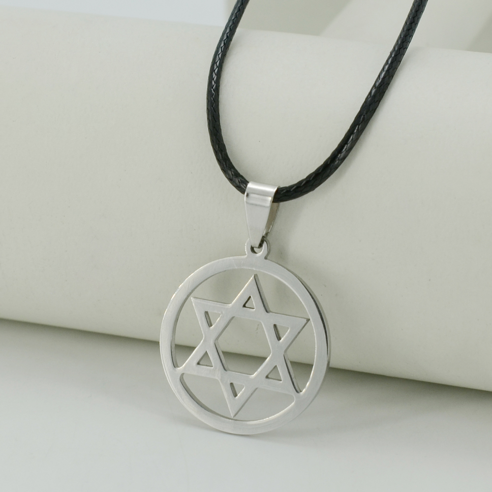 judaica necklace stainless color necklaces david in star item men a collare magen chain israel pendant steel black of gold with from jewish women jewelry