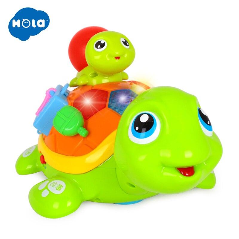 HOLA 868 Parent-enfant tortue Interactive B/O électrique Animal Puzzle tortue bambin ramper bébé jouets pour 6M + - 4