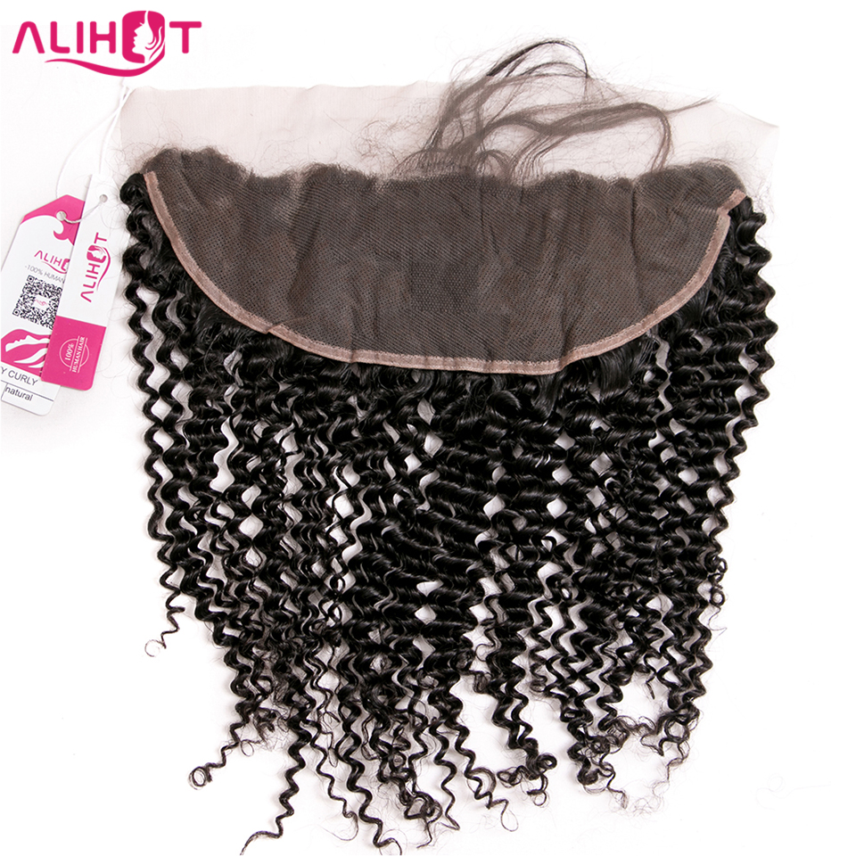 ALI HOT 13*4 Ear to Ear Brazilian Kinky Curly Lace Frontal with Baby Hair 100% Remy Hair Pre Plucked Lace Closure Natural Color