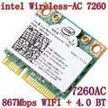 Nueva Original de la tarjeta inalámbrica Dual band Wireless AC 7260 7260HMWAN 867 Mbps media Mini PCI-E 802.11ac 2 x 2 Wifi Bluetooth4.0 tarjeta
