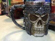1 Piece Resin Skull Mug Tankard Striking Skull Warrior Tankard Viking Skull Beer Mug Gothic Helmet Drinkware Vessel(China)