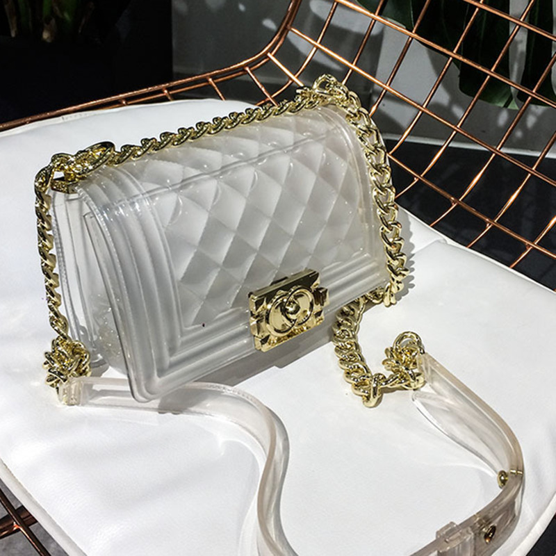 Famous Brand Women Messenger Bags Chain Shoulder Bag Luxury Designer Lady Handbag Purse Clutch Transparent Jelly Bag Channel Sac luxury brand fashion chain casual shoulder bag messenger bag famous designer locks crossbody bags for women clutch purse handbag