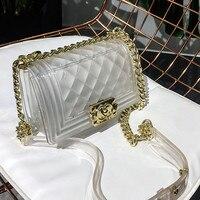 Famous Brand Women Messenger Bags Chain Shoulder Bag Luxury Designer Lady Handbag Purse Clutch Transparent Jelly Bag Channel Sac