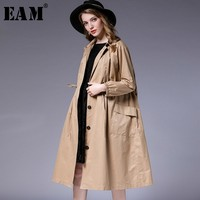 [EAM] 2019 New Spring Winter Lapel Long Sleeve Waist Drawstring Pleated Stitch Big Size Windbreaker Women Trench Fashion JL272