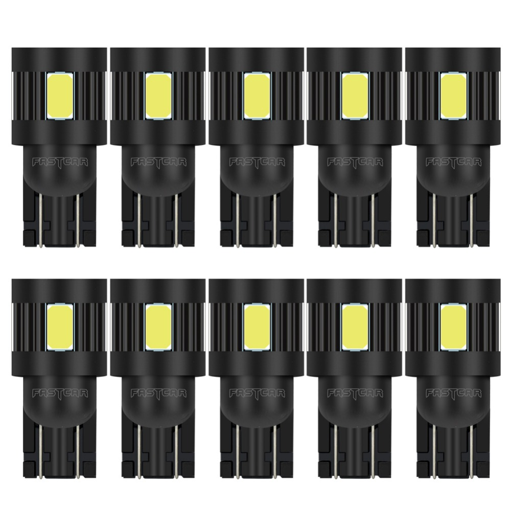 FASTCAR 10x T10 led Bulb w5w LED Car DRL 5730 SMD 194 168 Clearance Lights Reading Interior Lamp 12V 6000k White ...