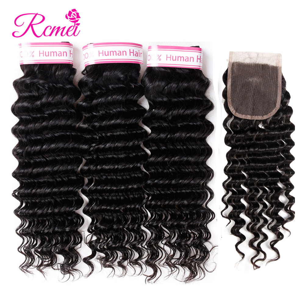 Rcmei Hair Deep Wave Bundles With Closure Brazilian Human Hair Weave 3 Bundles with Closure Non Remy Hair Extensions 4Pcs/Lot