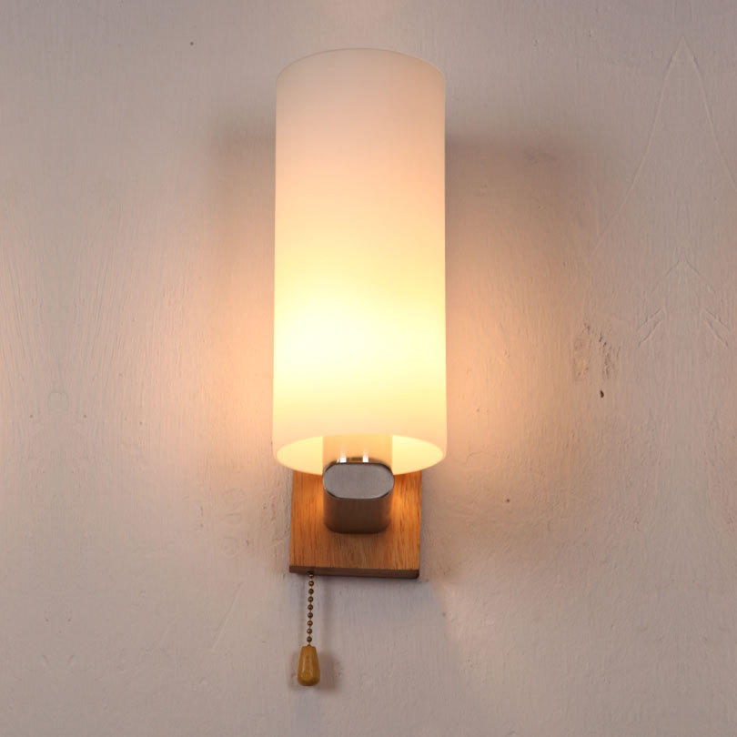 ФОТО Nordic Vintage Style Edison Bulb  Wooden & Glass With the Switch Wall lamp Bedside Wall Light Cafe Bar Hall Store Hotel Shop