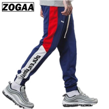2018 Men Pants Full Length Side Stripe Printed Trousers Mens Joggers Sportswear Fitness Gym Pants Male Vintage Sweatpants ZOGAA недорого