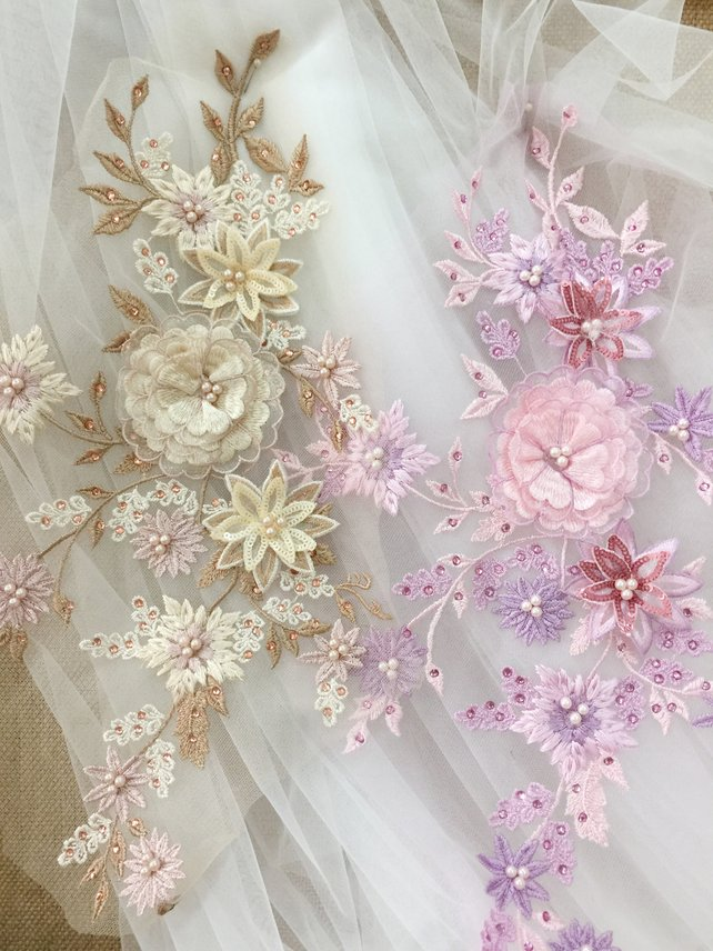 2 pcs lot 3D Beaded Flower Lace Applique Pearl Beaded Embroidered Bridal Applique for Dance Costumes Bridal Gown Accessories in Patches from Home Garden