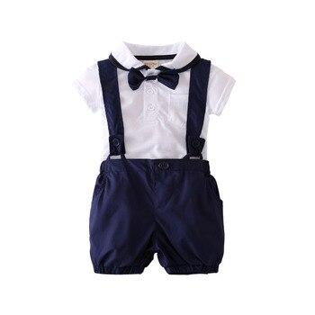 2018 summer fashion baby boy clothes gentleman short sleeve T shirt+strap Shorts 2pcs newborn baby boy clothing set