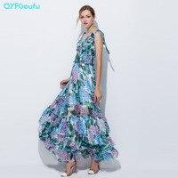 2017 Runway Designer Long Dresses High Quality Women's Chiffon Maxi Dress Summer Elegant Floral Print Green Tiered Party Dresses