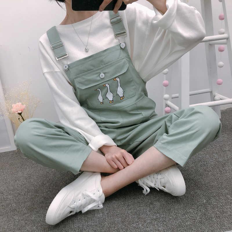 Jumpsuits ผู้หญิงยอดนิยม Playsuits นักเรียนสไตล์ใหม่ BF Slim การ์ตูน Kawaii กระเป๋าข้อเท้า - ความยาว Leisure Chic