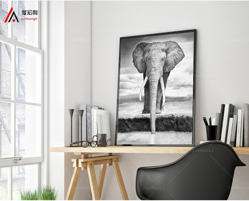 HD Printed African elephant painting a picture on a canvas frame1 animals panels landscape wall decor for home room poster Print
