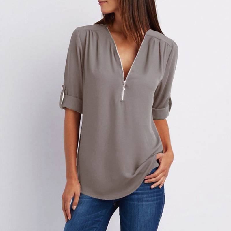 7 Colors New Solid Zipper Shirts Loose Plus Size Long Sleeve Chiffon Blusas Tops Women Sexy V Neck Casual Summer Blouses Gifts in Blouses amp Shirts from Women 39 s Clothing