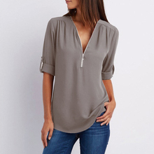 7 Colors New Solid Zipper Shirts Loose Plus Size Long Sleeve Chiffon Blusas Tops Women Sexy V Neck Casual Summer Blouses Gifts