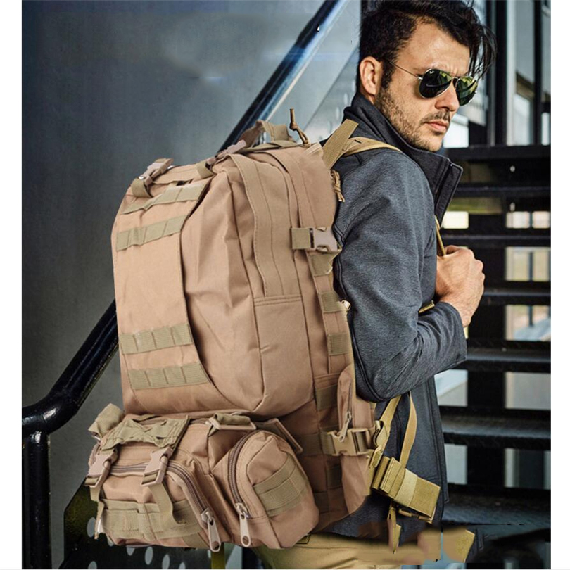 Outdoor tactical combination backpack capacity 55L high quality nylon outdoor backpack Hiking Camping Hunting men's bag high quality tactical outdoor view wind duck for hunting target cl38 0006