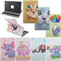 Ultra Slim 360 Degree Rotating Elephant Cat Animal Print Stand PU Leather Case For Samsung Galaxy Tab E 9.6 T560 T561 Tablet