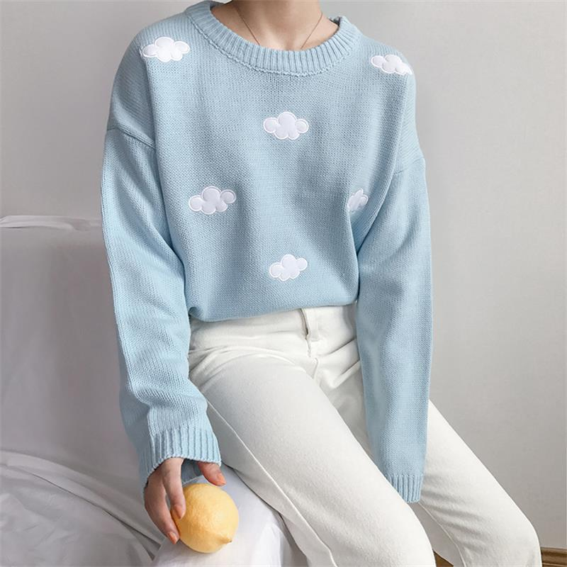2019 Women'S Kawaii Vintage College Loose Clouds Sweater Female Korean Punk Thick Loose Harajuku Clothing For Women