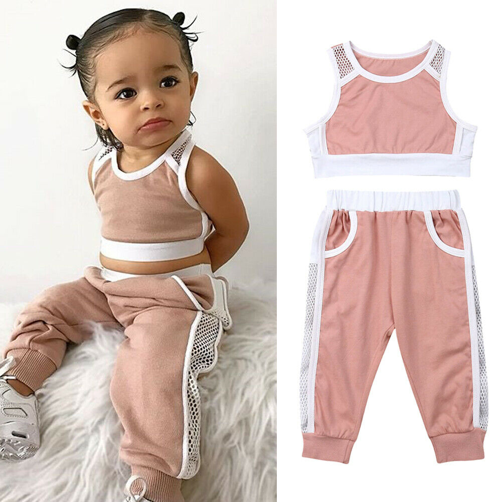 Summer Toddler Girls Clothes Sets Pink Sports Vest Tank Tops+Long Pants Outfits Set Tracksuit