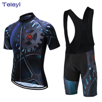TELEYI Gear Men Cycling Jersey Sets Bike Bib Shorts Gel Padded Bicycle Outdoor Sports Boy Breathable T shirts Top Ropa Ciclismo