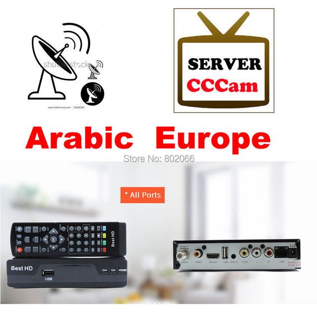 buy dvb s2 hd satellite receiver with one year cccam cline for europe and. Black Bedroom Furniture Sets. Home Design Ideas