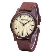 BEWELL Canvas Band Watches Three Hands Luxury Brand Quartz Wood Watch 4 Colors 134A