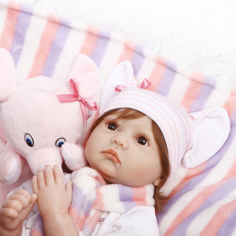 Новый Тип хлопок тело силиконовые возрождается кукла с Розовая одежда слон плюшевые игрушки Одеяло ручной работы жив Кукла реборн рост пар...