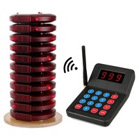 999 Channel Restaurant Pager Wireless Calling System 10 Coaster Pager 1 Transmitter Waiter Customer Service For